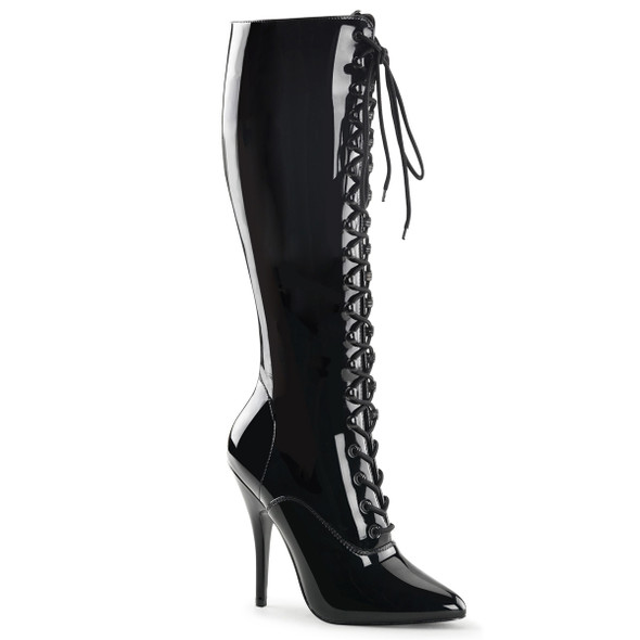 Seduce-2020, Knee High Lace Up Boots | Pleaser