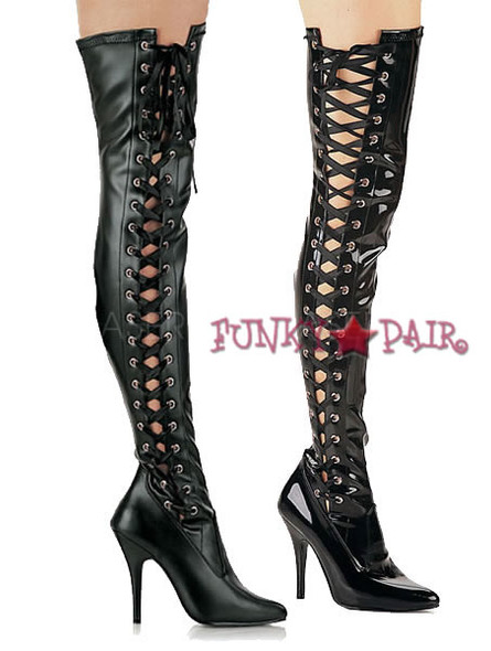 Seduce-3050, Side Slit Stretch Thigh High Boots sz 6-14 * Made by PLEASER Shoes