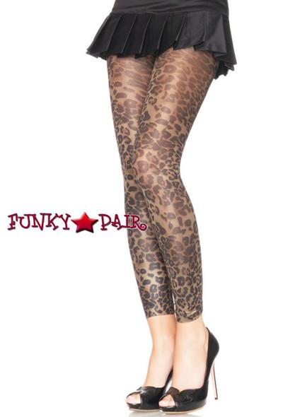 Brown Leopard Print Footless Tights   Leg Avenue 7450