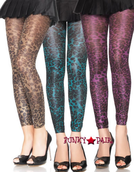 7450, Shimmer Leopard Print Footless Tights