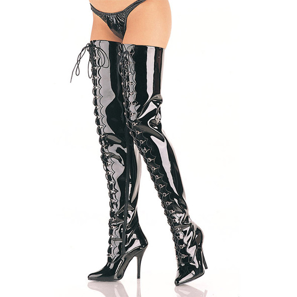 Pleaser | Seduce-4026, D-ring Lace-up Crotch Boots