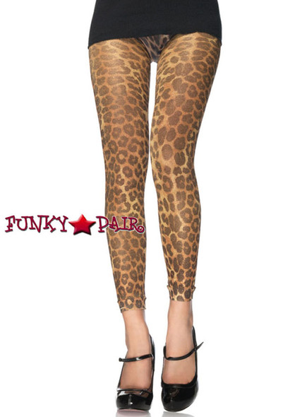 Lurex Leopard Print Footless Tights | Leg Avenue 7535
