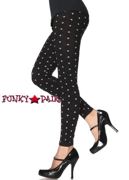 Black Polka Dot Print Leggings   Leg Avenue 13539