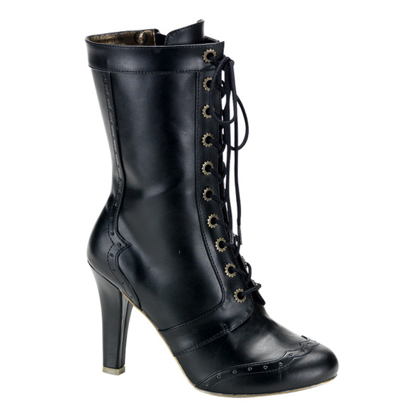 Demonia | Tesla-102, Steampunk calf Ankle Boots