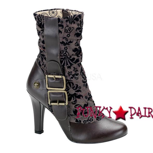 Tesla-106, 4 Inch High Heel Steampunk Victorian Women gothic boots Mady By Demonia