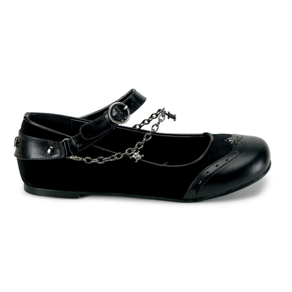 DAISY-07, Mary jane Wing Tip Flat With Skull Charm Chain Made by Demonia