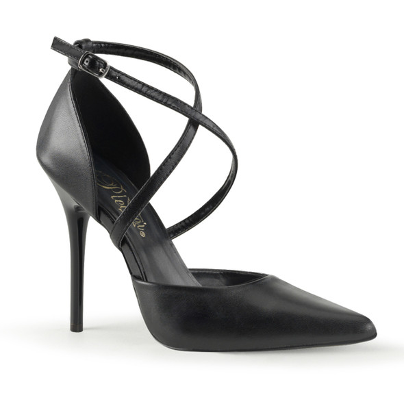 Black Leather Milan-42, Quarter Criss Cross D'Orsay Heels