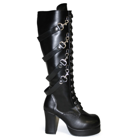 Gothika-209, Women's Goth Punk Knee Boots with Straps by Demonia