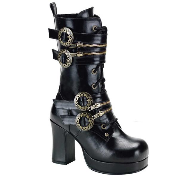 Gothika-100, Steampunk Calf Boot with Gear Buckle | Demonia