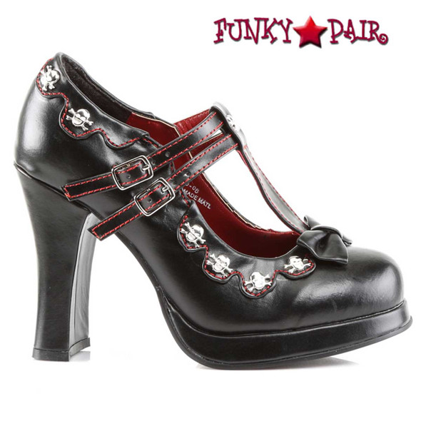 Demonia |  Crypto-06 MaryJane Double T-Strap side view
