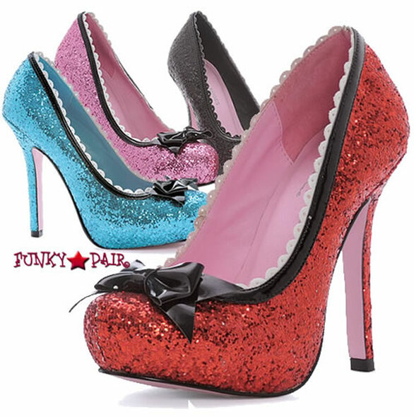 LA517-PRINCESS, 5 Inch High Heel Glitter Pump Made by LEG AVENUE Costume Shoes