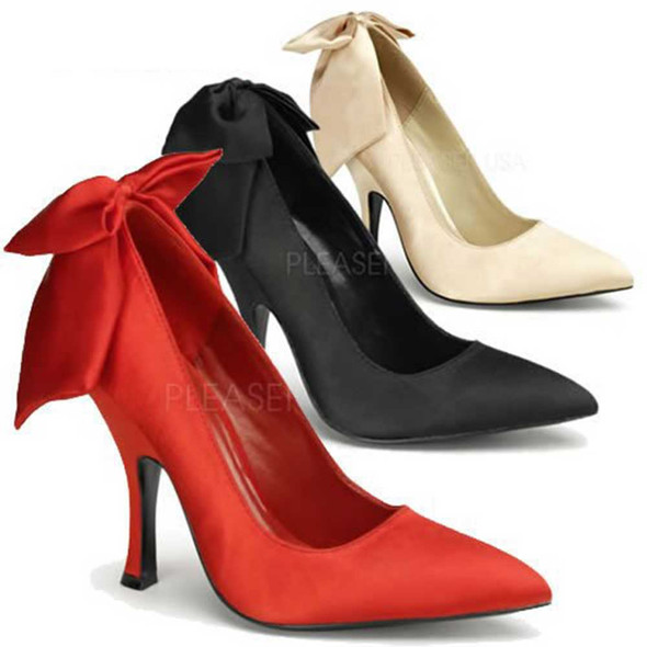 Bombshell-03, Heel Pump with Bow in Back   Pin-Up Couture