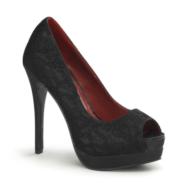 Bella-16, Lace Peep Toe Pump Pin-Up Couture Shoes