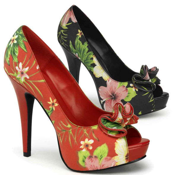 Lolita-11, Floral Peep Toe Pump with Ruffle Detail Pin-Up Couture Shoes