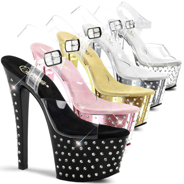 Stripper Shoes | Stardust-708, 7 Inch High Heel Stiletto with 2.75 Inch Platform Ankle Strap Rhinestones Studded Sandal * Stardust-708