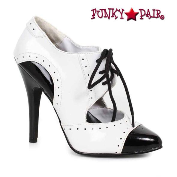 Ellie   511-Gangster, 5 Inch High Heel Black/White Oxford Shoes
