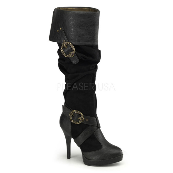 Carribean-216 * 4.5 inch cuff knee high platform boot with octopus buckles Black