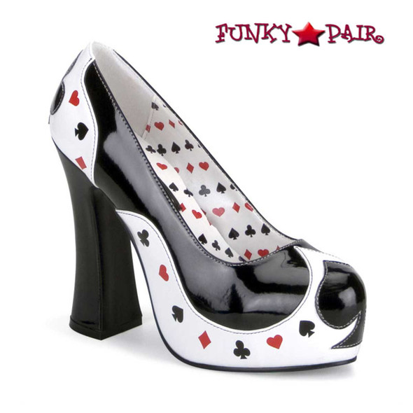 "Poker-21, 5"" Poker Suit Cosplay Pump | Funtasma Costume Shoes"