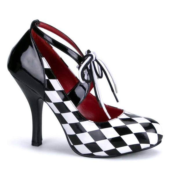 "Harlequin-03, 4"" Checker Print Harlequin Shoes by Funtasma"
