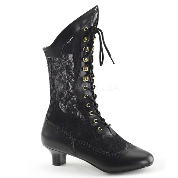 Dame-115 * 2 inch lace victorian ankle boot Black Faux Leather