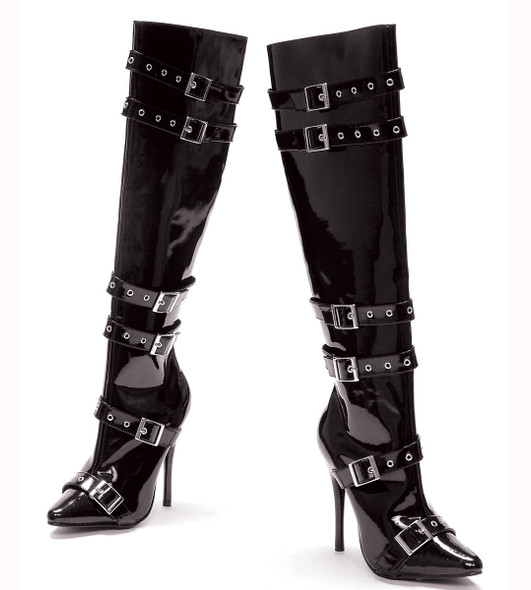 """516-Lexi 5"""" Heel Boots with Buckles  color black patent Ellie Shoes"""