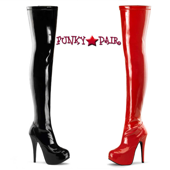 Bordello | Teeze-3000, Concealed Platform Stretch Thigh High Boot