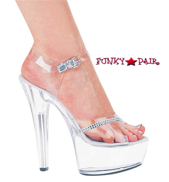 601-Jewel, 6 Inch High Heel with 1.75 Inch Platform Rhinestones Shoes Made by ELLIE Shoes
