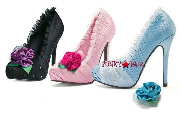 v517-PENELOPE, 5 Inch High Heel Pump with Rose Made by ELLIE Shoes