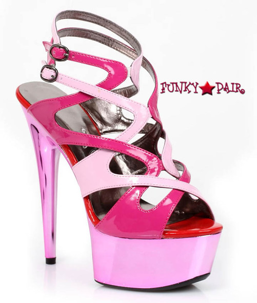 609-GUAVA, 6 Inch High Heel with 1.75 Inch Platform Color Block Made by ELLIE Shoes