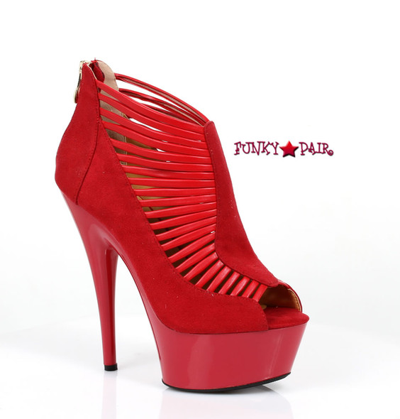 609-MARCIE, 6 Inch Stiletto High Heel with 1.75 Inch Platform Velvet Booties Made by ELLIE Shoes