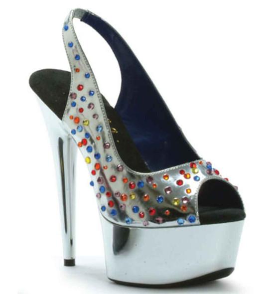 "609-BEDAZZLED 6"" Dancer Rhinestones Stiletto Ellie Shoes"