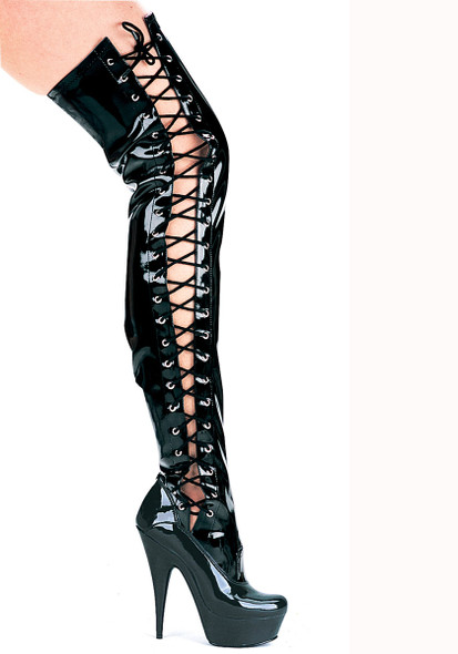 "609-Ferocious, 6"" Lace up Thigh High Boots 