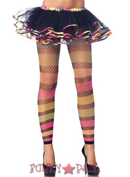 9661, Rainbow Striped Fishnet Footless