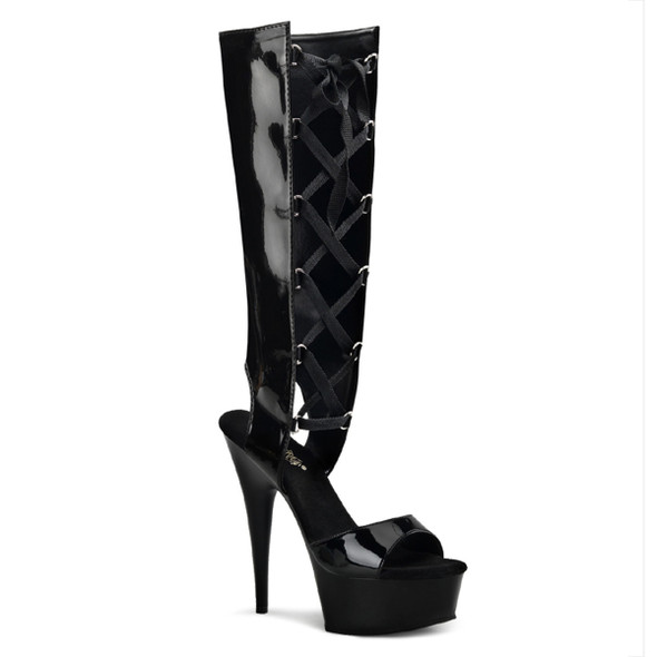 Delight-600-40, 6 inch High heel with 1.75 inch Platform Mid Calf Lace up Sandal