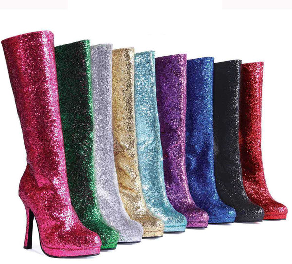 "4"" Glitter Knee High Boots Ellie Shoes 