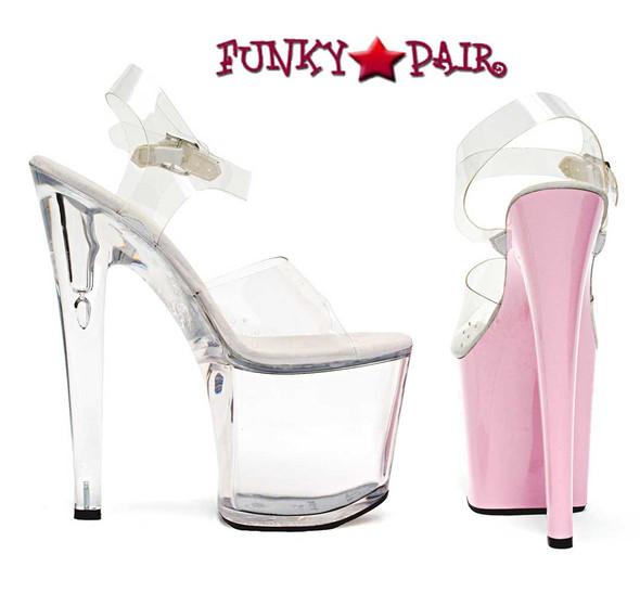 821-Brook, 8 Inch High Heel with 3.75 Inch Platform Dancer Heel Made By ELLIE Shoes