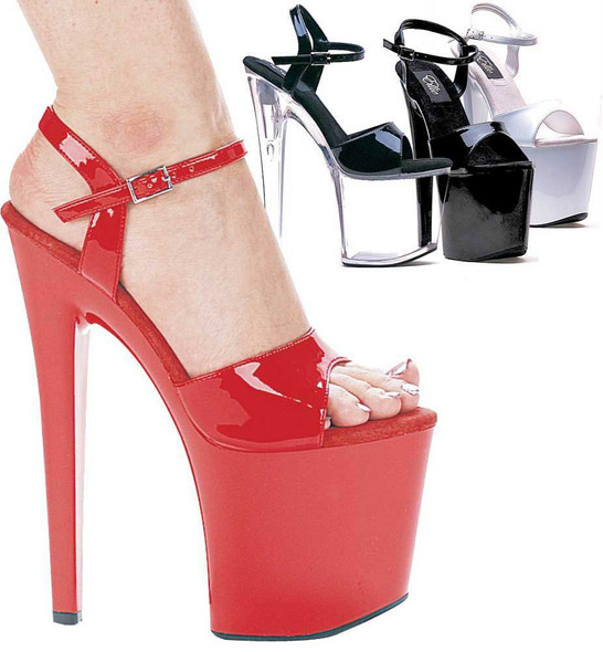 821-Juliet, 8 Inch High Heel with 3.75 Inch Platform Exotic Dancer Shoes Made By ELLIE Shoes available color: black/clear, black, white, red