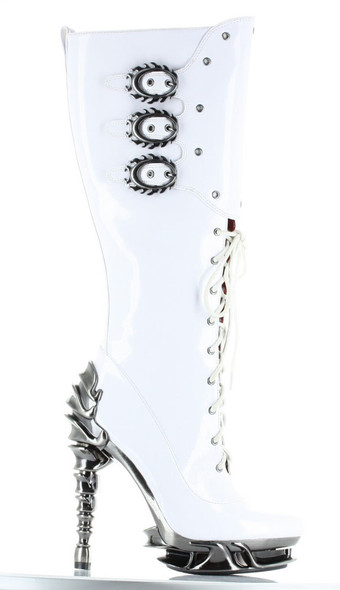 Hades Boots | Hyperion Spinal Heel Knee High Boot white front view