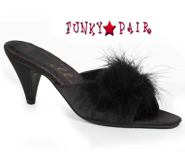 Phoebe, Color Black Marabou Slipper Made By ELLIE Shoes