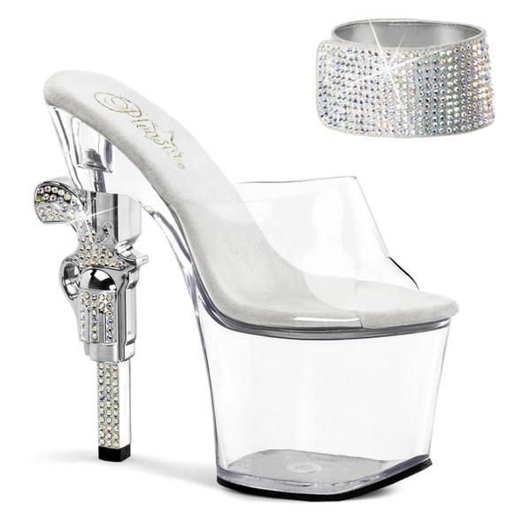Stripper Shoes   Revolver-712, 7 inch high heel with 3.25 inch platform Rhinestones Cuff Strap Sandal with Rhinestones Gun Heel