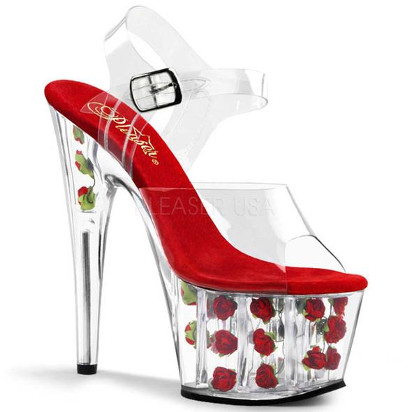 Pleaser | Adore-708FL , Red Rose Fill Bottom Sandal