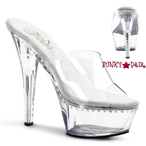 Stripper Shoes clearance Kiss-201LS * Platform Slide with a line rhinestones