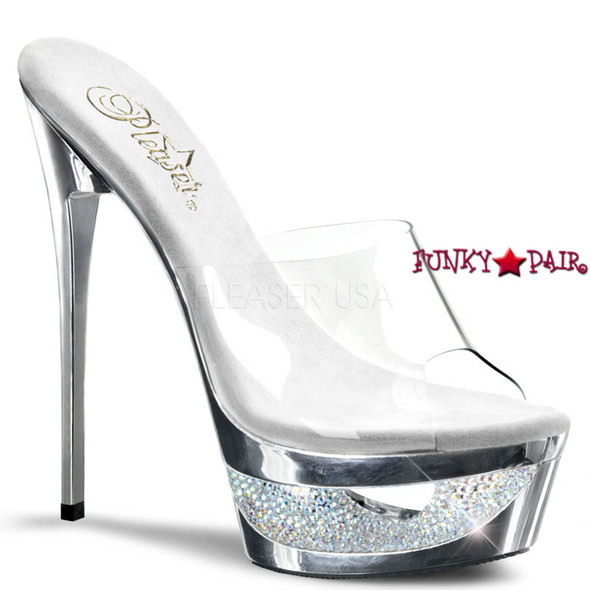 Eclipse-601DM, 6.5 Inch High Heel Slide Chrome Cut-out color silver