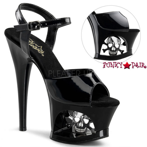 Pleaser | Moon-709SK, Platform Cut Out with Skull and Ankle Strap Sandal black patent