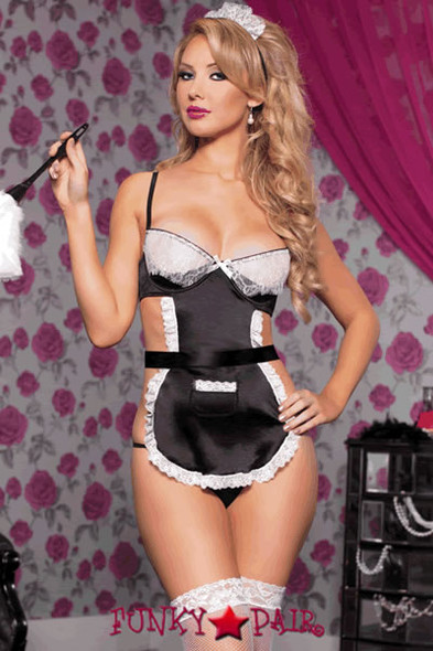 Lingerie Costume: Three piece french maid set includes stretchy satin and lace trim apron with underwire 1/4 cups and eyelash lace overlay sling, ribbon tie back, front pocket, headpiece and panty (feather duster not included)