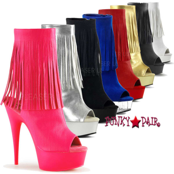 Pleaser | Delight-1019, Stripper Open Toe Fringe Boot