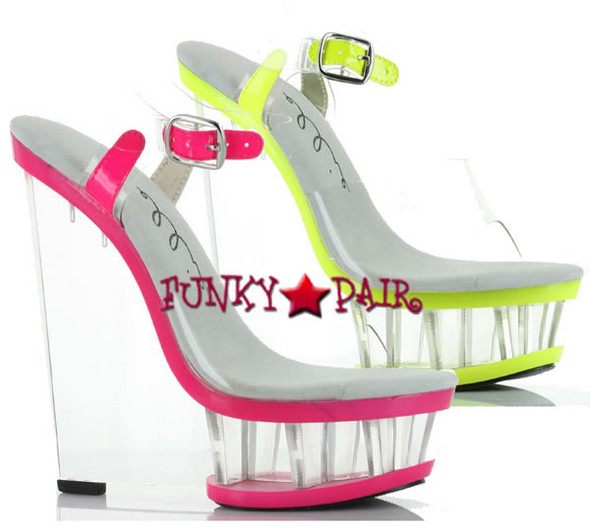 610-Shana, 6 Inch High Heel with 1.75 Inch Platform wedge with neon trim Made by ELLIE Shoes