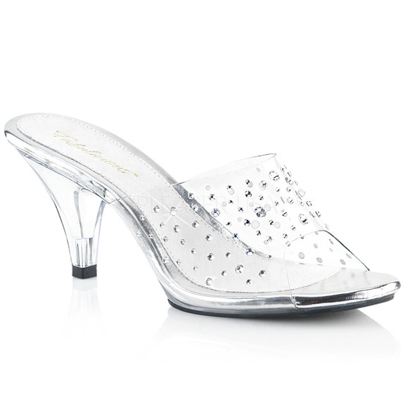 Belle-301RS, 3 inch High Heel slide with rhinestones Made By PLEASER Shoes