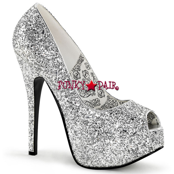 Bordello | Teeze-22G, Glitter Peep Toe Pump
