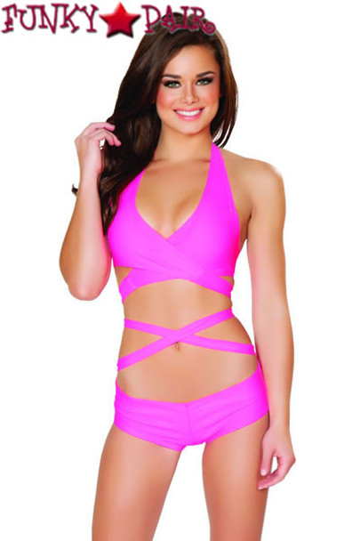 J Valentine | SF131, Halter and Short Set color hot pink